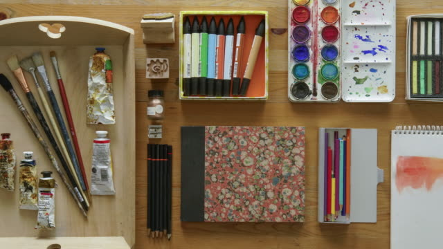 flat lay animated art materials - art stock videos & royalty-free footage