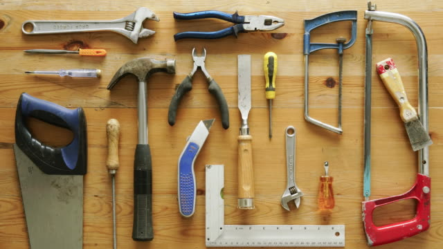 flat lay hand tools - table top view stock videos & royalty-free footage