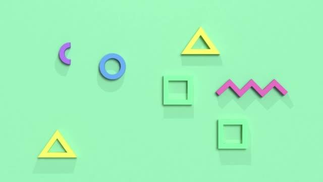 フラットレイモーション幾何学形状抽象的な背景3d レンダリング緑のシーンとマルチカラー - パステルカラー点の映像素材/bロール