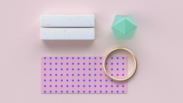 flat lay pink blue pattern wood material and gold geometric shape minimal abstract motion 3d rendering - palla sportiva video stock e b–roll