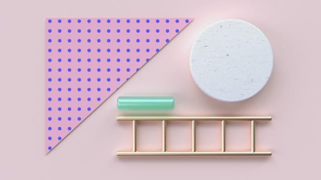 flat lay pink blue pattern wood material and gold geometric shape minimal abstract motion 3d rendering - shape stock videos & royalty-free footage