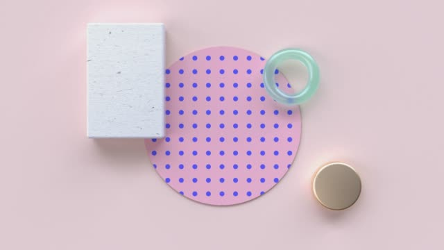 flat lay pink blue pattern wood material and gold geometric shape minimal abstract motion 3d rendering - pastel stock videos & royalty-free footage