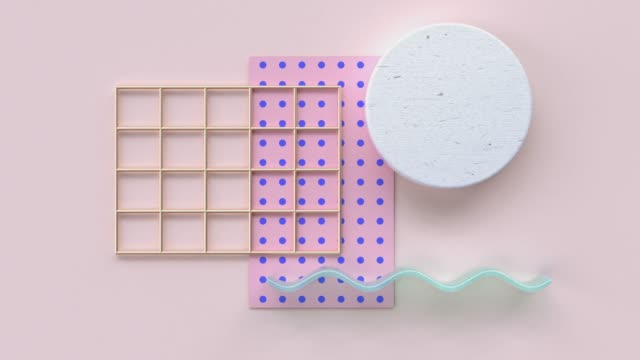 flat lay pink blue pattern wood material and gold geometric shape minimal abstract motion 3d rendering - digital animation stock videos & royalty-free footage