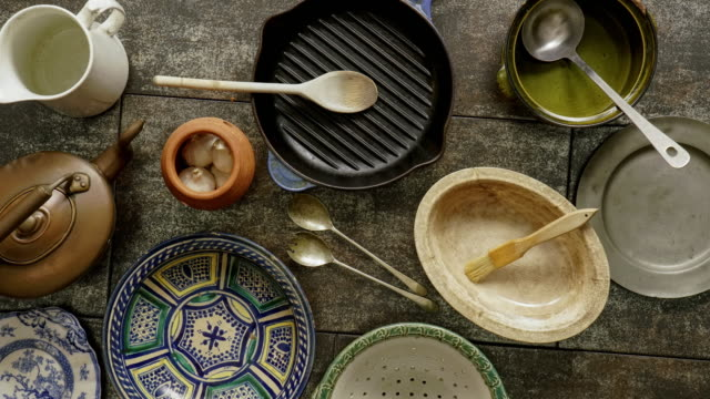 flat lay rustic cookware - decor stock videos & royalty-free footage