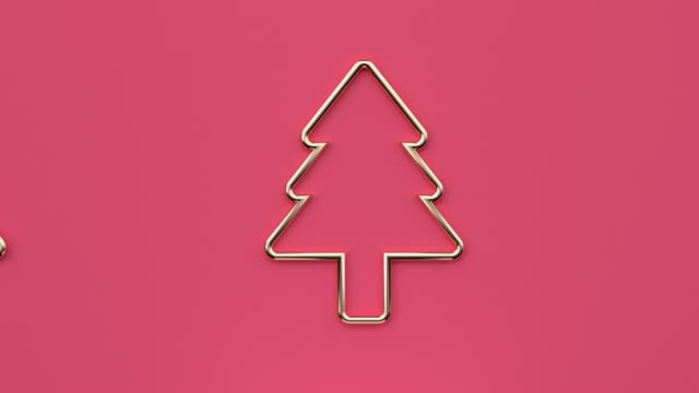 flat lay scene abstract christmas tree celebration holiday new year concept minimal motion 3d rendering - immagine in movimento in loop video stock e b–roll