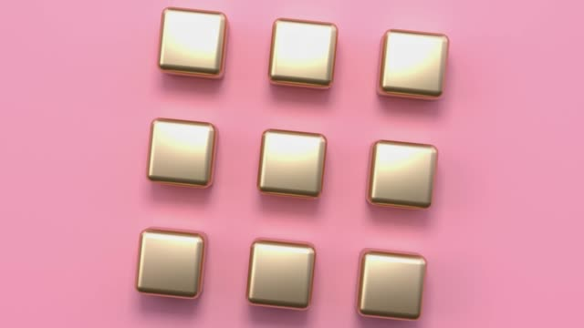 flat lay scene pink gold metallic minimal abstract geometric background 3d rendering motion - multicolore video stock e b–roll