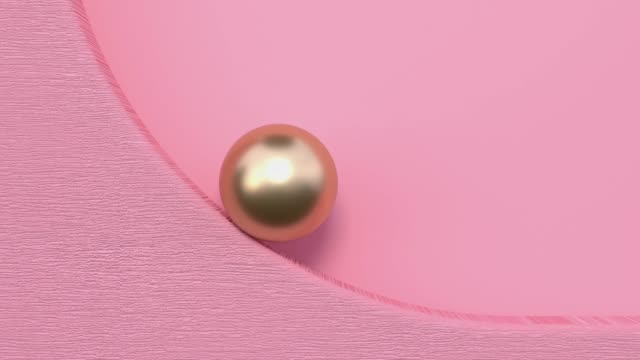 flat lay scene pink gold metallic minimal abstract geometric background 3d rendering motion - ball stock videos & royalty-free footage