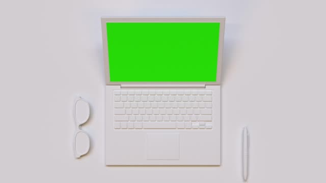 flat lay scene white computer/laptop green screen mock up 3d rendering technology - still life stock videos and b-roll footage