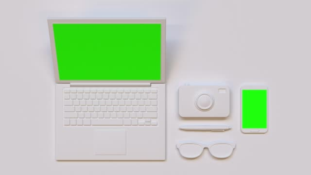 flat lay scene white computer/laptop green screen mock up 3d rendering technology - still life stock videos & royalty-free footage