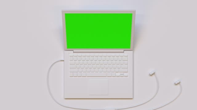flat lay scene white computer/laptop green screen mock up 3d rendering technology - still life video stock e b–roll