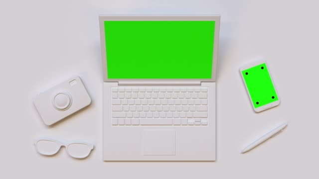 flat lay scene white computer/laptop green screen mock up 3d rendering technology - group of objects stock videos & royalty-free footage
