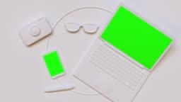 flat lay scene white computer/laptop green screen mock up 3d rendering technology