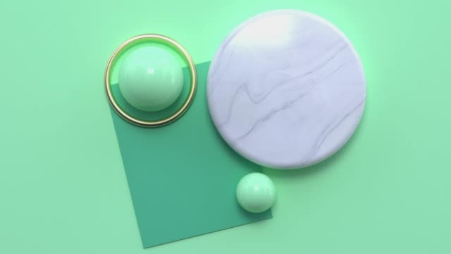 flat lay view green gold white marble shape 3d rendering motion abstract - art stock videos & royalty-free footage