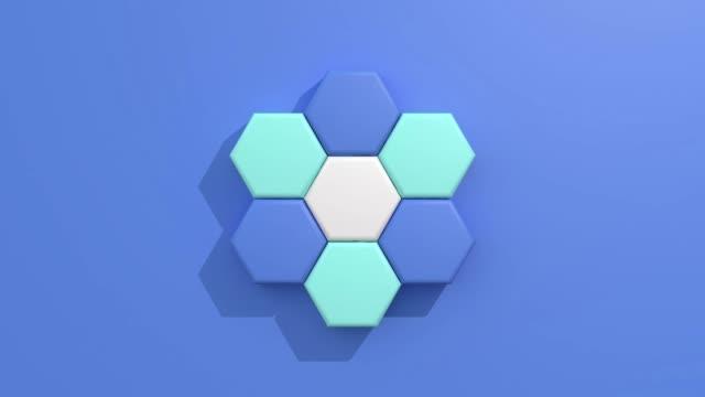 vídeos de stock, filmes e b-roll de flat lay/plano azul fundo 3d renderização movimento gráfico forma geométrica - hexágono
