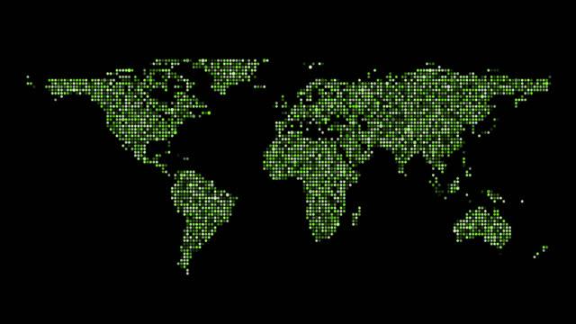 vídeos de stock, filmes e b-roll de mapa apartamento mundo backgrounds - manipulação digital