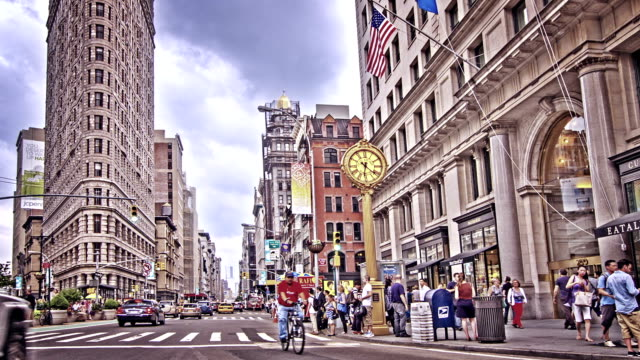 flatiron building and big clock in new york - high dynamic range imaging stock videos and b-roll footage