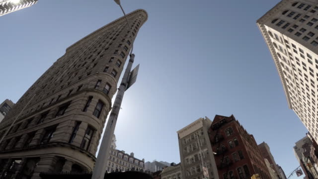 flatiron building - nyc - wide angle - no people - 4k - flatiron building manhattan stock videos and b-roll footage