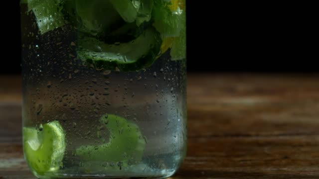 Flavored water with cucumber, celery, lemon and thyme