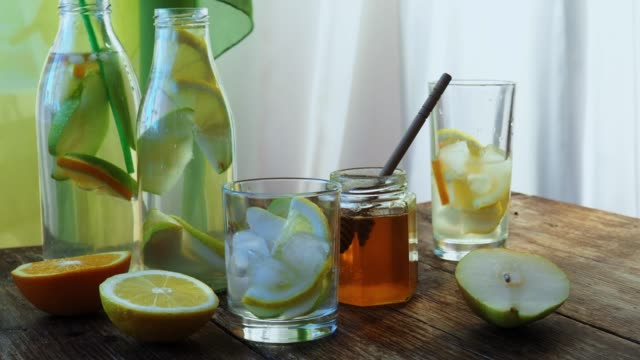 flavored water with honey - detox stock videos & royalty-free footage