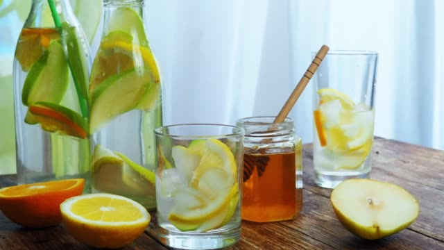 flavored water with honey - lemonade stock videos and b-roll footage