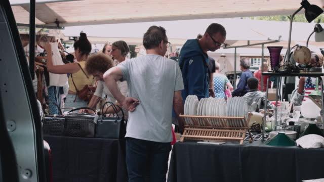 flea market noordermarkt amsterdam, the netherlands - flea market stock videos and b-roll footage
