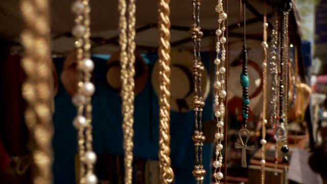CU R/F Flea market stall with jewelry, New York City, New York, USA