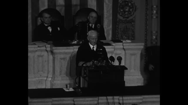 fleet admiral chester nimitz at lectern during his address to a joint session of the us congress sot your fighting men have done well the job you... - sam rayburn stock videos and b-roll footage