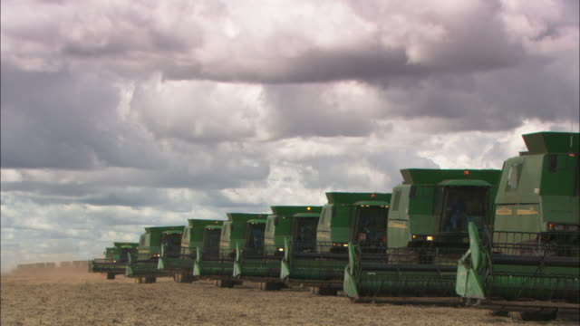 A fleet of combine harvesters line up together in a field.