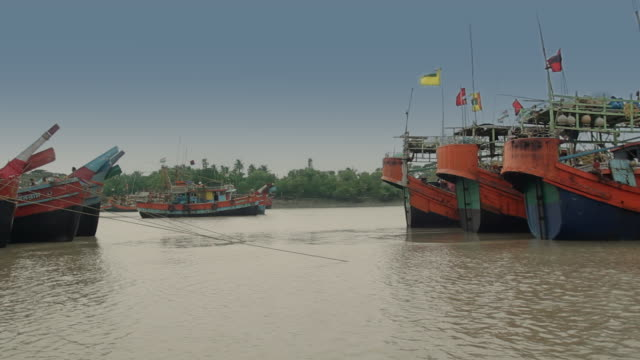 a fleet of fishing trawlers is tethered at the hatania doania creek in namkhana west bengal india - west bengal stock videos and b-roll footage