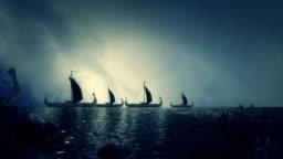 Fleet of Viking Ship Getting Close to Shore