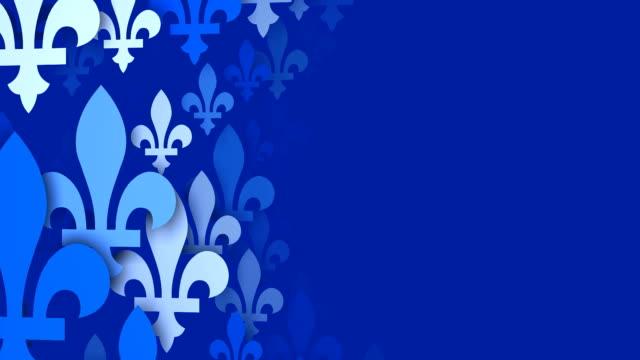 fleur de lys dalla bandiera del quebec, sfondo blu (ad anello - giglio video stock e b–roll