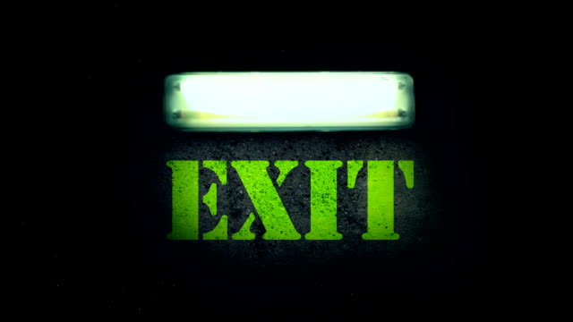 flickering fluorescent light - exit sign stock videos & royalty-free footage