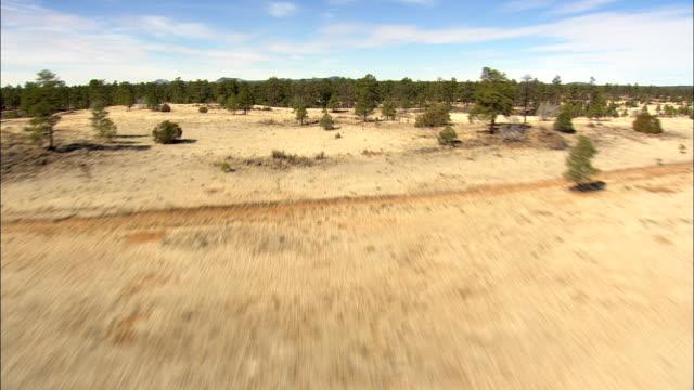 vídeos de stock, filmes e b-roll de voo em toda a paisagem com subida ao revelar el malpais - vista aérea - novo méxico, no condado de cibola, estados unidos - baixo posição