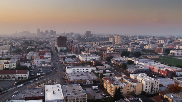Flight Across Westlake Los Angeles with Koreatown Skyline