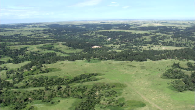 Flight Across Wooded Landscape  - Aerial View - South Dakota, Todd County, United States