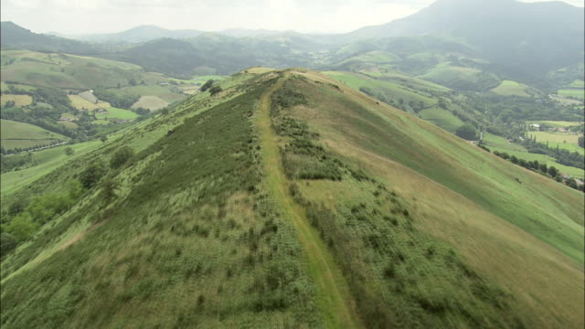 flight along hill-top track - aquitaine stock-videos und b-roll-filmmaterial