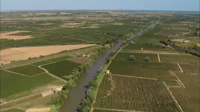 flight along the river audecanal du midi - canal du midi stock videos & royalty-free footage