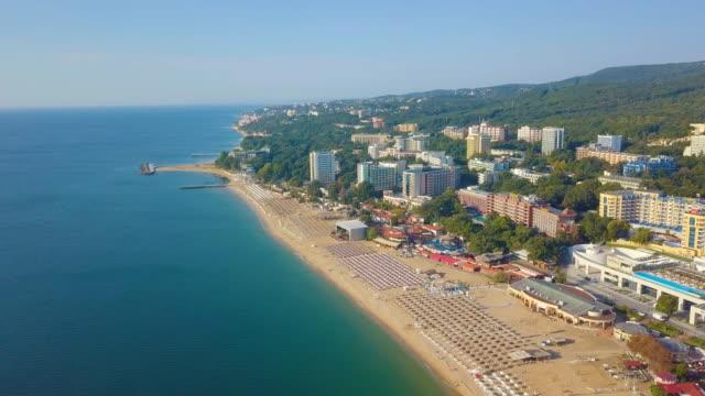 flight along turquoise sea tourist resort, varna/ bulgaria - sunny stock videos & royalty-free footage