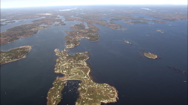 Flight And Pan Across Calendar Islands  - Aerial View - Maine,  Cumberland County,  United States