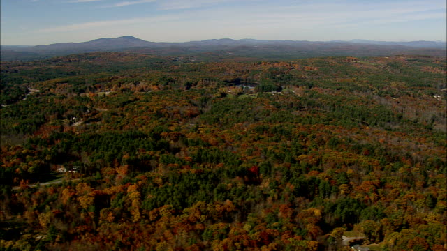Flight And Track Past Landscape Around Route 89  - Aerial View - New Hampshire,  Merrimack County,  United States