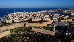 Flight around of Valletta old town and City Gate, Malta
