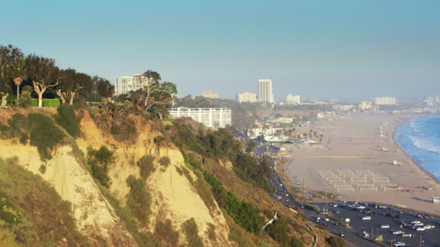 flight around pacific palisades cliffs to view of santa monica - pacific palisades stock videos & royalty-free footage