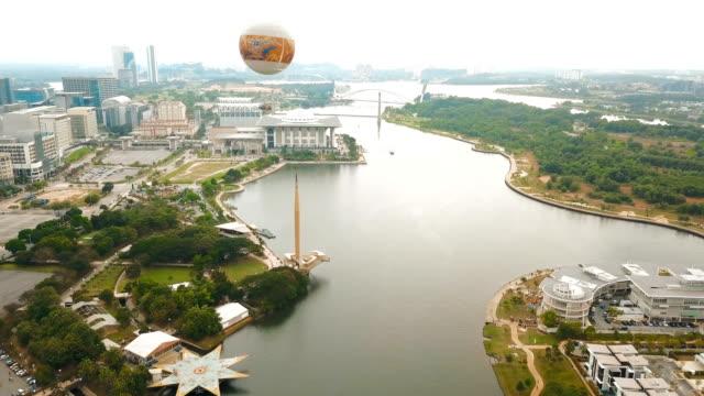 flight around seri wawasan bridge in putrajaya, malaysia - putrajaya stock videos & royalty-free footage