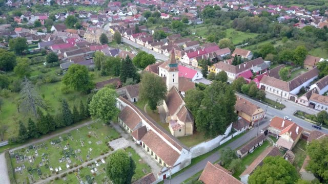 Flight around the fortified church in Vulcan, Brasov