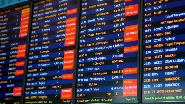 vídeos de stock e filmes b-roll de flight canceled and delay due to weather condition - avião comercial