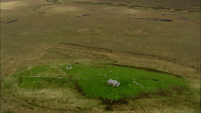 Flight Circling Dilapidated Cottage  - Aerial View - Connaught, County Mayo, Ireland