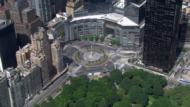 Flight circling New York's Columbus Circle with Time Warner Center in background. Shot in 2006.