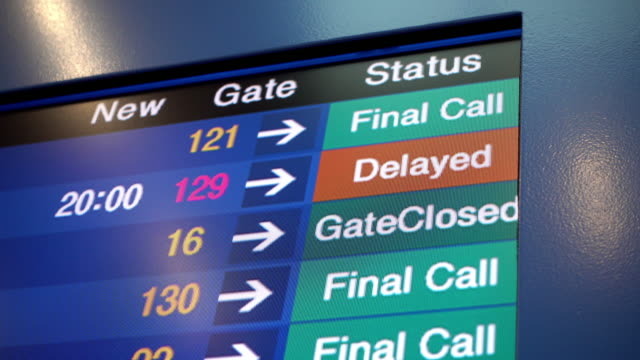 Flight Delay and Final Call in Airplane Board Airport