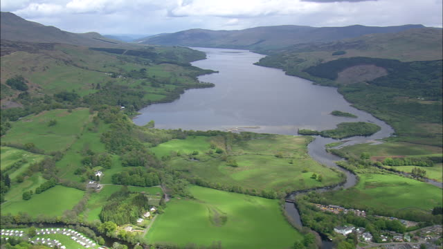 flight descending to loch tay - perthshire stock videos & royalty-free footage