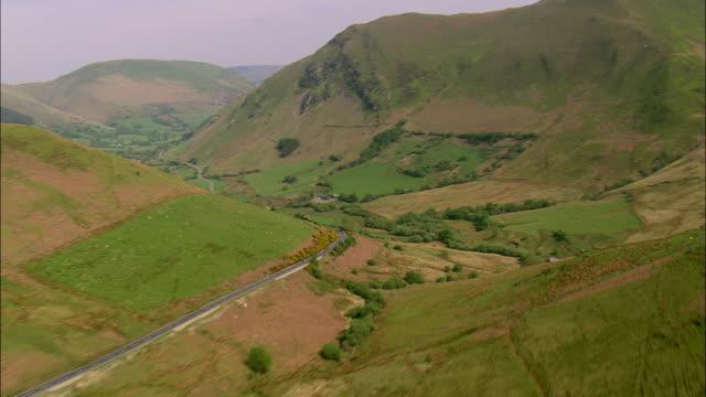 flight down dinas mawddwy valley - wales stock videos & royalty-free footage
